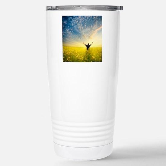 man in yellow field Stainless Steel Travel Mug