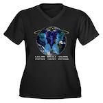 Angelz Women's Plus Size V-Neck Dark T-Shirt
