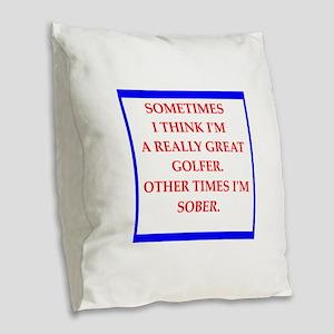 golfer Burlap Throw Pillow
