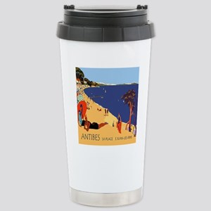 Vintage French Antibes  Stainless Steel Travel Mug