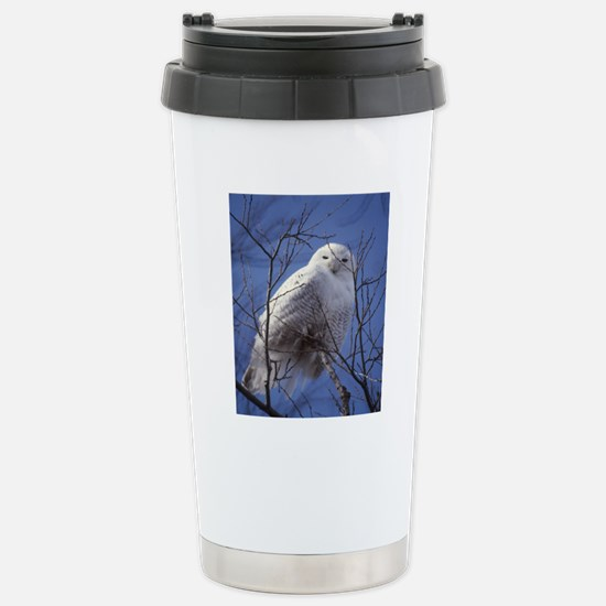 Snowy White Owl Stainless Steel Travel Mug