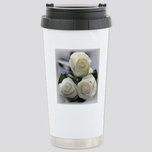 Three White Roses Stainless Steel Travel Mug