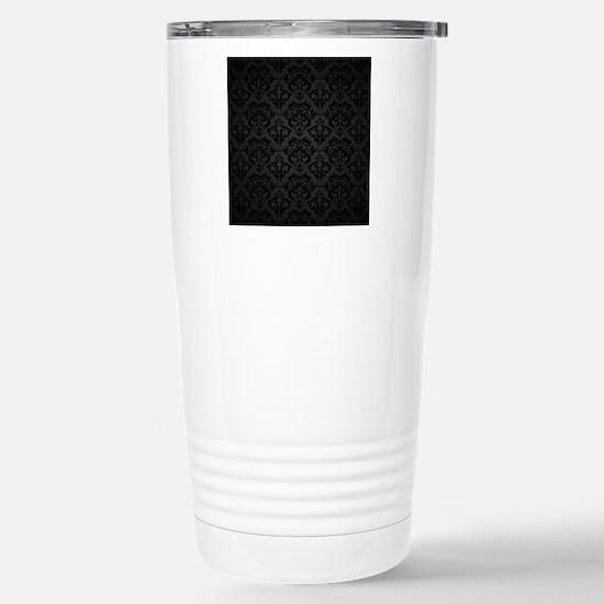 Elegant Black Flourish Stainless Steel Travel Mug