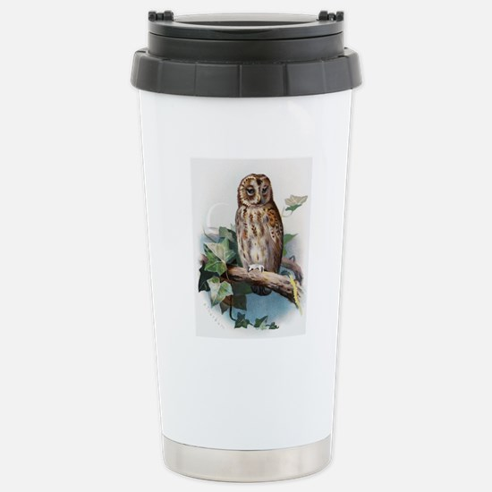 Tawny owl, historical a Stainless Steel Travel Mug