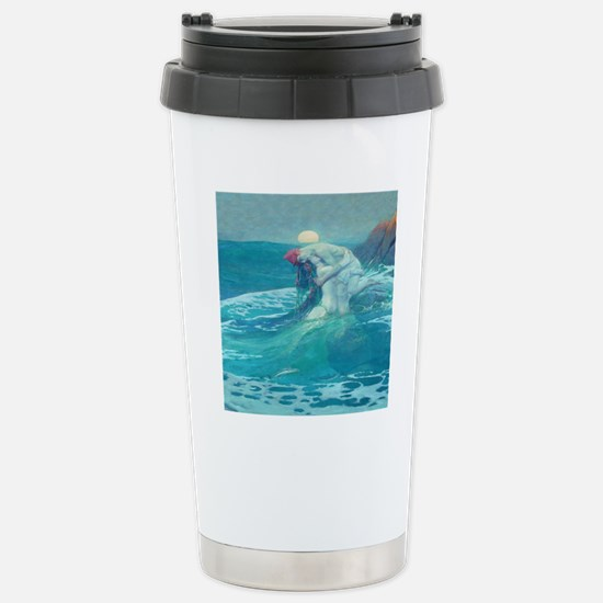 Vintage Mermaid and Mor Stainless Steel Travel Mug