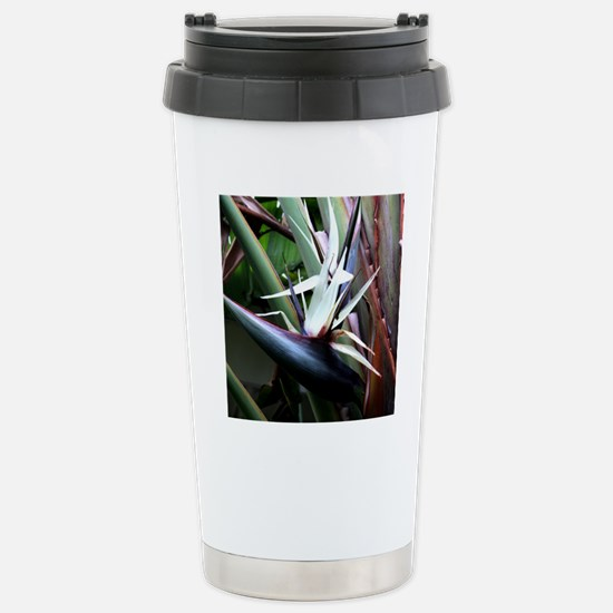 White Bird of Paradise Stainless Steel Travel Mug