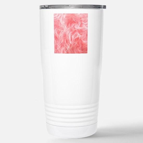 Pink Fake Fur Pattern Stainless Steel Travel Mug