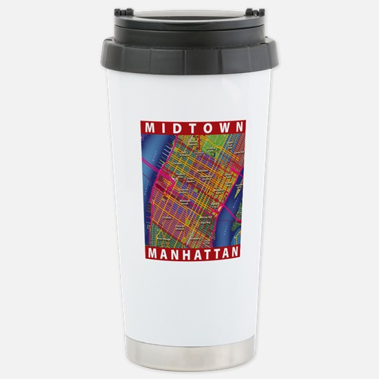 Midtown Manhattan Map Stainless Steel Travel Mug