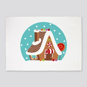 Gingerbread Snowglobe 5'x7'Area Rug