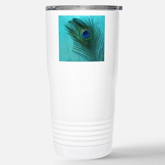 Metallic Aqua Peacock Stainless Steel Travel Mug