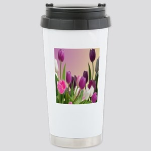 Purple and White Tulips Stainless Steel Travel Mug