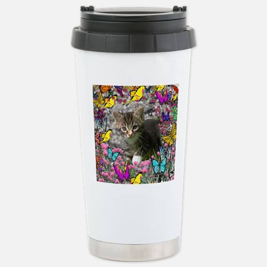 Emma Tabby Kitten in Bu Stainless Steel Travel Mug