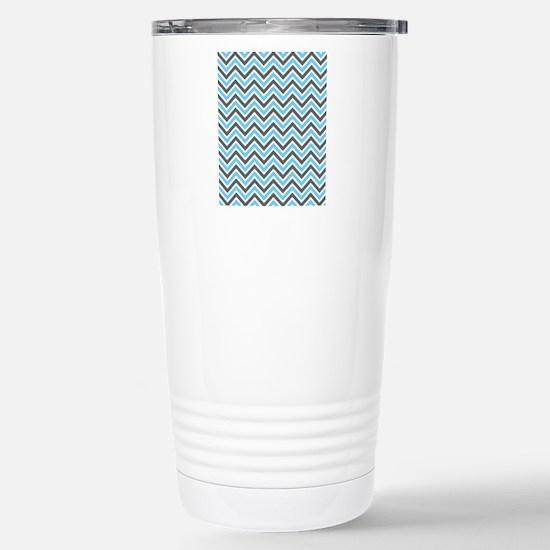 Grey and Aqua Chevron Stainless Steel Travel Mug