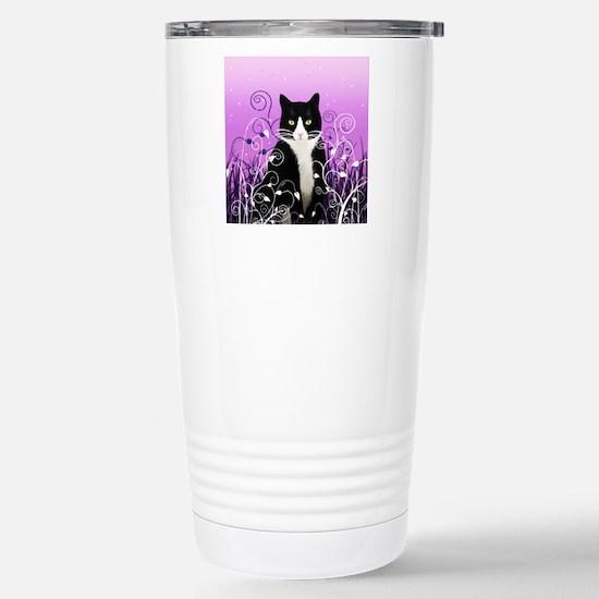 Tuxedo Cat on Lavender Stainless Steel Travel Mug