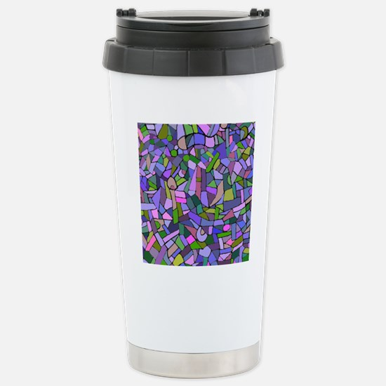 Purple abstract mosaic Stainless Steel Travel Mug