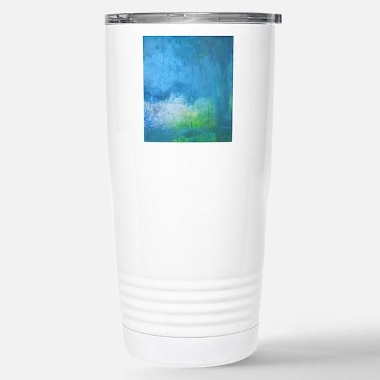 Blue Green Abstract Lan Stainless Steel Travel Mug