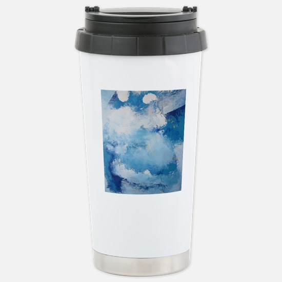 Blue Sky Cloud Abstract Stainless Steel Travel Mug