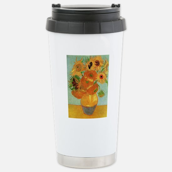 Vase with 12 Sunflowers Stainless Steel Travel Mug