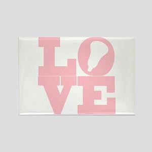 Lacrosse Love Pink Rectangle Magnet