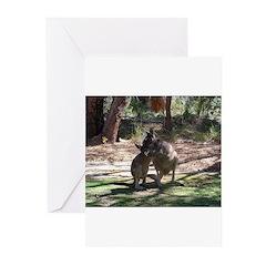 kangaroo mum tickles me Greeting Cards (Package of
