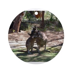 kangaroo mum tickles me Ornament (Round)