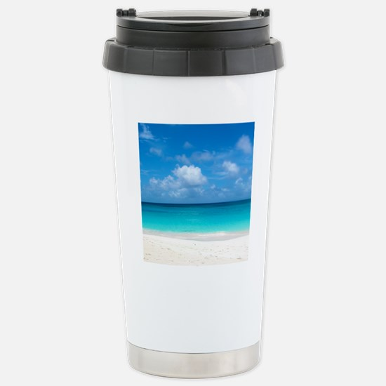 Tropical Beach View Cap Stainless Steel Travel Mug