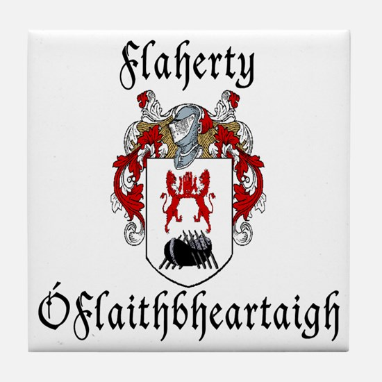 Flaherty In Irish & English Tile Coaster