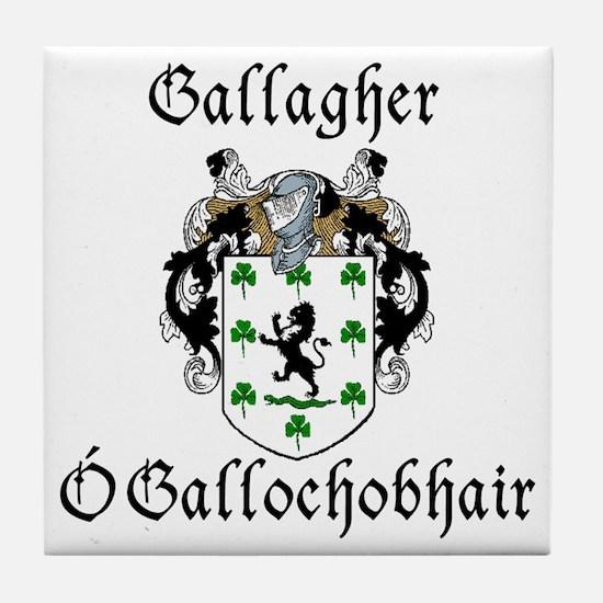 Gallagher In Irish & English Tile Coaster