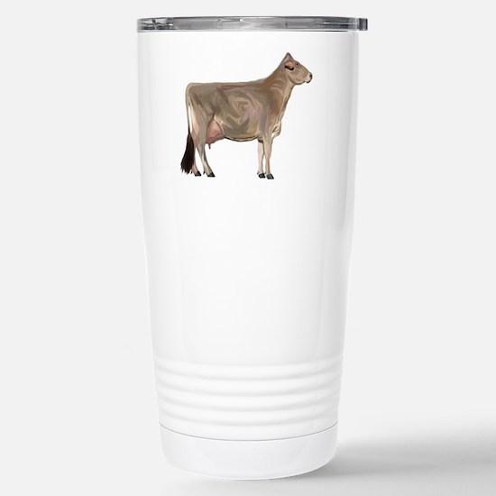 Brown Swiss Dairy Cow Stainless Steel Travel Mug