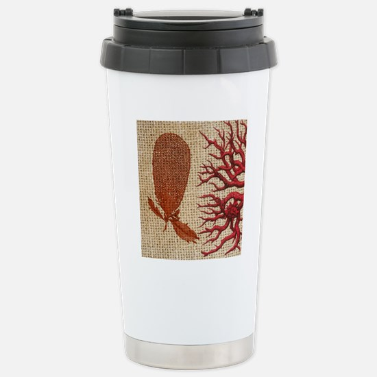 red coral burlap beach  Stainless Steel Travel Mug