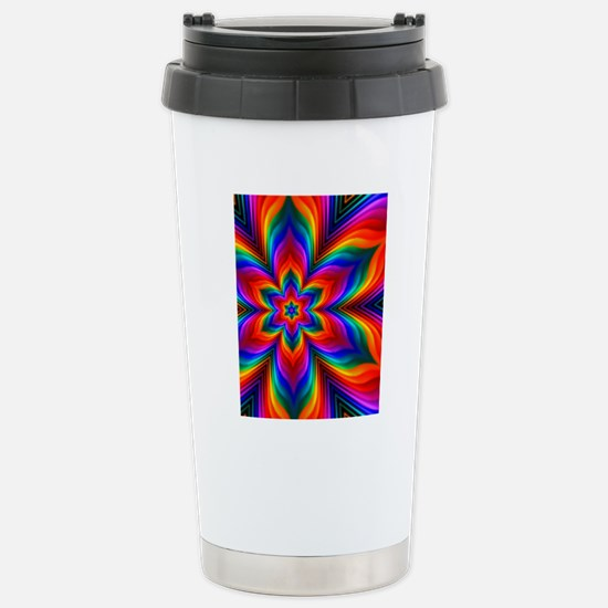 Rainbow Flower Fractal Stainless Steel Travel Mug