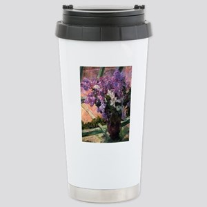 Lilacs in a Window by M Stainless Steel Travel Mug
