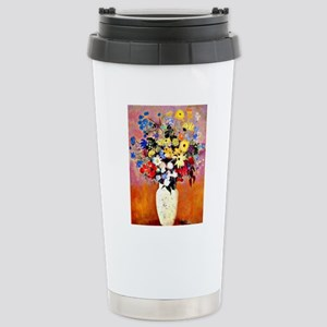 White Vase with Flowers Stainless Steel Travel Mug
