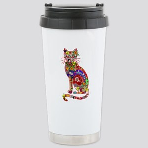 Patchwork Cat Stainless Steel Travel Mug
