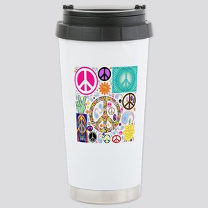 Peace Paisley Collage Stainless Steel Travel Mug