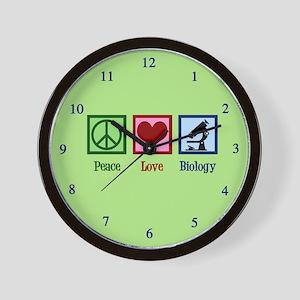 Biology Peace Love Wall Clock