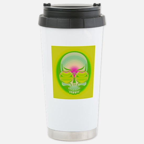 Yellow Green Shades On  Stainless Steel Travel Mug