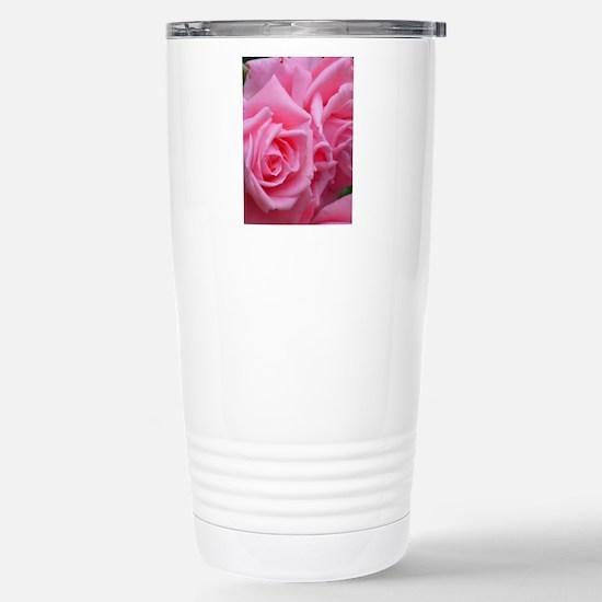 Pink Rose Stainless Steel Travel Mug