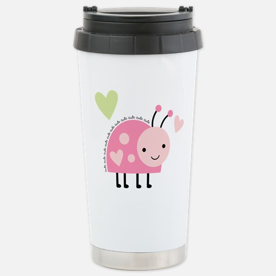 Pink Ladybug Stainless Steel Travel Mug