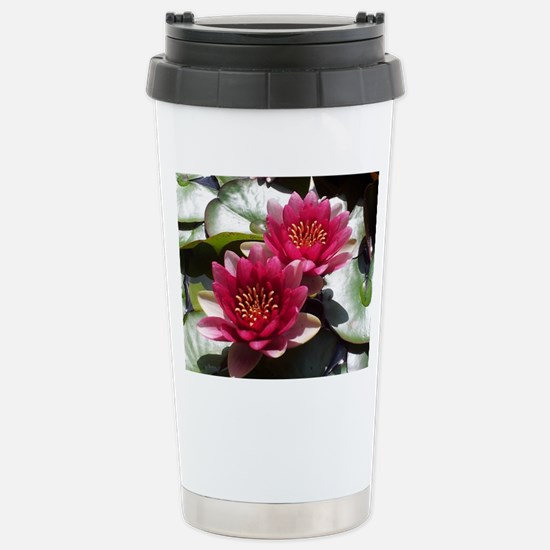 Red Lotus Flower Stainless Steel Travel Mug