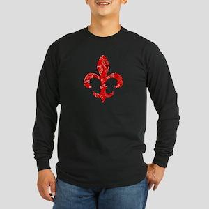 Fleur de lis Red Bandana Long Sleeve Dark T-Shirt