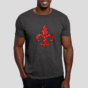 Fleur de lis Red Bandana Dark T-Shirt