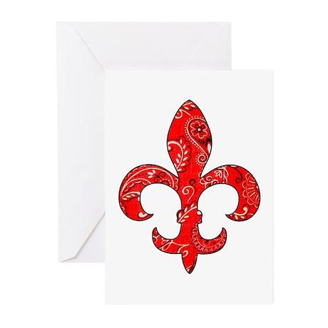 Fleur de lis Red Bandana Greeting Cards (Package o