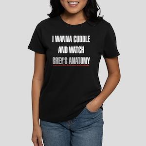 I Wanna Cuddle and Watch Grey Women's Dark T-Shirt