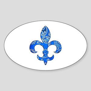 Fleur de lis Blue Bandana Oval Sticker