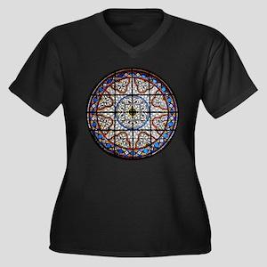 Gothic Window Women's Plus Size V-Neck Dark T-Shir