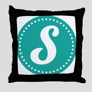 Letter S Monogram Initial teal Throw Pillow