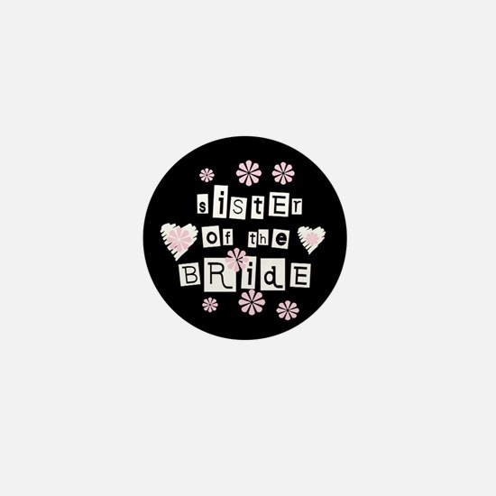 Sister of Bride (black) Mini Button