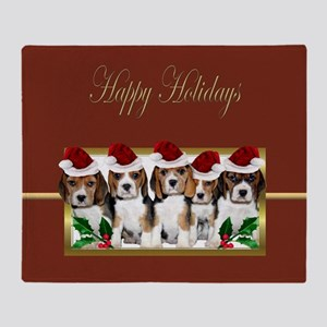 Holiday Beagles Throw Blanket