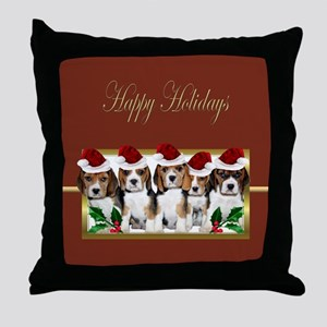Holiday Beagles Throw Pillow
